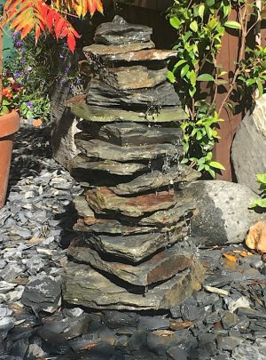 600mm Slate Stack Pyramid Water Feature | Welsh Slate Water Features
