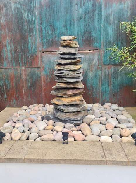 1500mm Slate Pyramid Water Feature Close Up   Welsh Slate Water Features