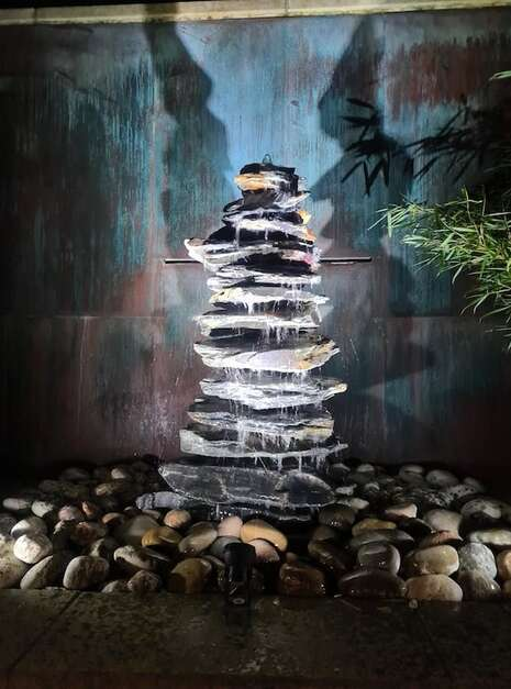 1500mm Slate Pyramid Water Feature Night Photo   Welsh Slate Water Features