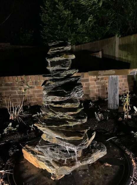 900mm Slate Pyramid Water Feature at night | Welsh Slate Water Features