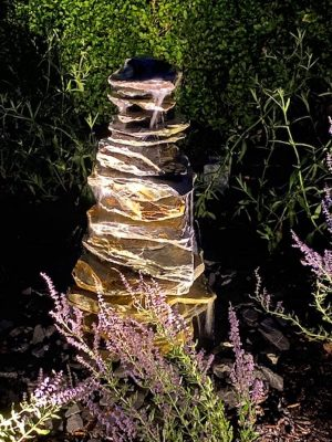900mm Slate Stack Pyramid Night Lighting   Welsh Slate Water Features