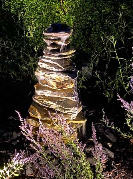 900mm Slate Stack Pyramid Night Lighting | Welsh Slate Water Features