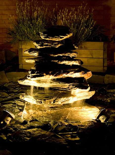Front Pyramid at night | Welsh Slate Water Features