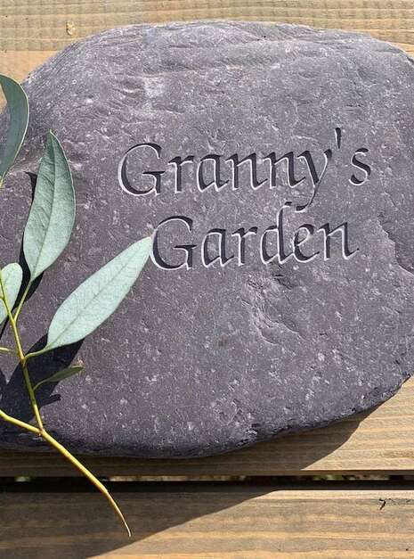 Grannys Garden Engraved Slate Paddlestone | Welsh Slate Water Features