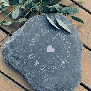 Love Strength Friendship Engraved Slate Paddlestones | Welsh Slate Water Features