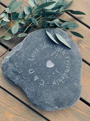 Love Strength Friendship Engraved Slate Paddlestones | Welsh Slate Water Features