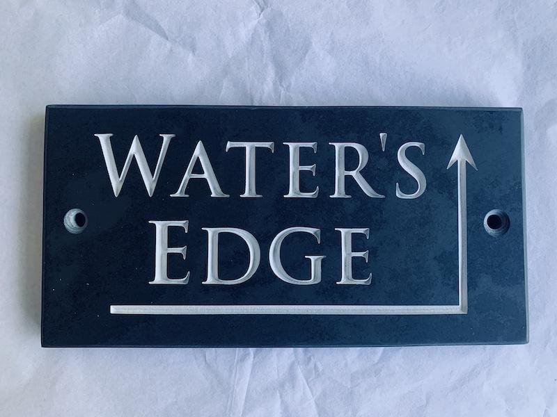 Slate House Sign Waters Edge