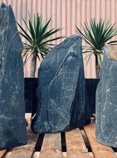 Triad of Stones for Japanese Garden Design | Welsh Slate Water Features