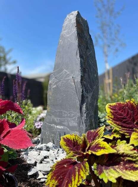 welsh slate monolith installed in customer garden