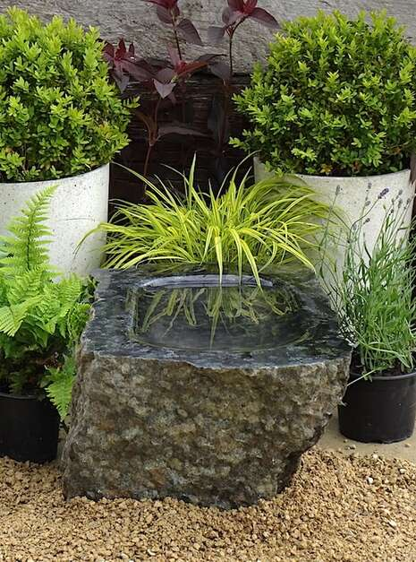 Unique Polished Stone Bird Bath SBB4 | Welsh Slate Water Features 01